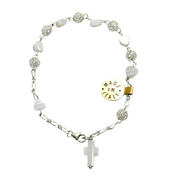 Mother of Pearl Heart Beads Catholic Rosary Bracelet
