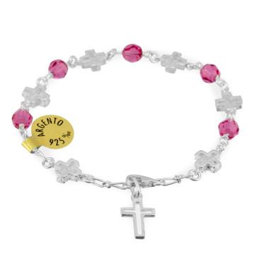 Catholic Swarovski Crystal Beads Rosary Bracelet w/ Sterling Silver Crosses