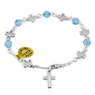 Swarovski Crystal Beads Catholic Rosary Bracelet w/ Sterling Silver Crosses