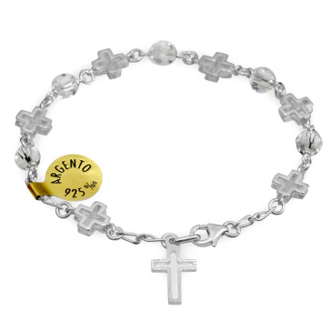 Swarovski Crystal Rosary Catholic Bracelet w/ Sterling Silver Crosses