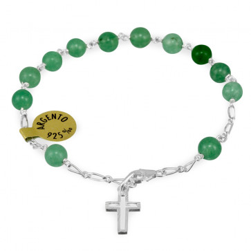 Green Pietre Dure Beads Rosary Catholic Bracelet