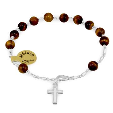 Moonstone and Granite Catholic Rosary Bracelet