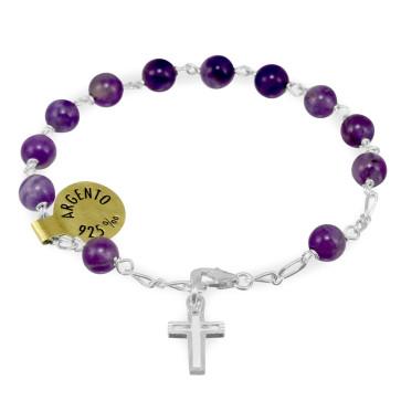 Violet Pietre Dure Beads Rosary Catholic Bracelet