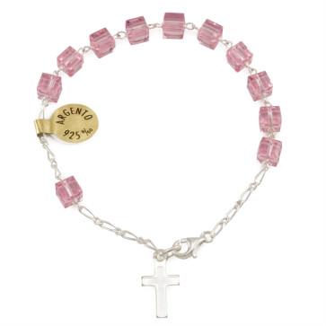 Pink Swarovski Square Crystal Beads Rosary Catholic Bracelet