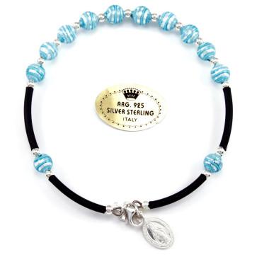 Blue and Silver Swirls Glass Beads Catholic Rosary Bracelet