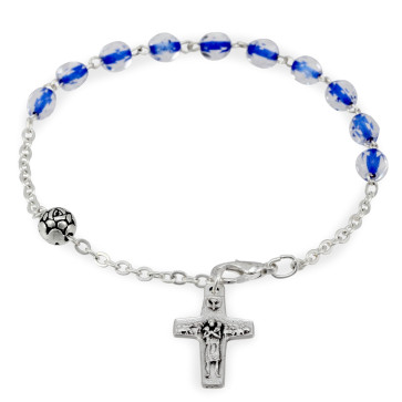 Blue Crystal Beads Bracelet with Vedele Cross