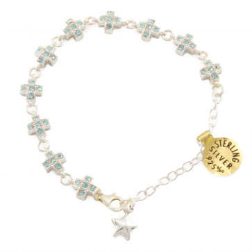 Sterling Silver Rosary Catholic Bracelet w/ Aqua Crystals