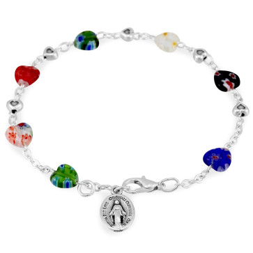 Murano Heart Shaped Beads Rosary Bracelet
