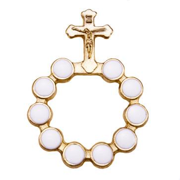 Catholic Gold Finish Decade Rosary w/ White Beads