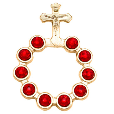 Catholic Gold Finish Decade Rosary w/ Red Swarovski Crystals