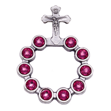 Catholic Silver Finish Decade Ring w/ Pink Swarovski Crystals