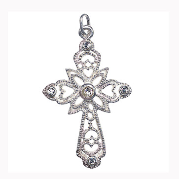 Swarovski Crystal Cross Catholic Pendant