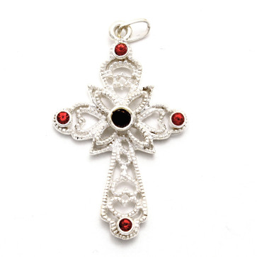 Sterling Silver Cross with red stones