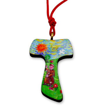 Catholic Brother Sun Tau Cross Necklace
