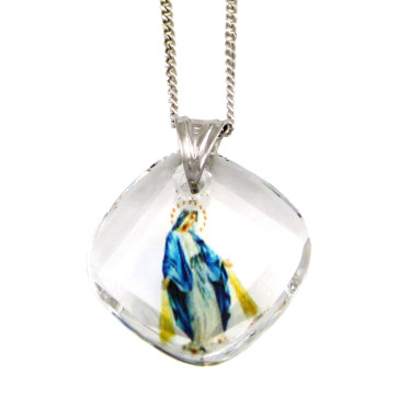 Lady of Grace Swarovski Crystal Catholic Pendant