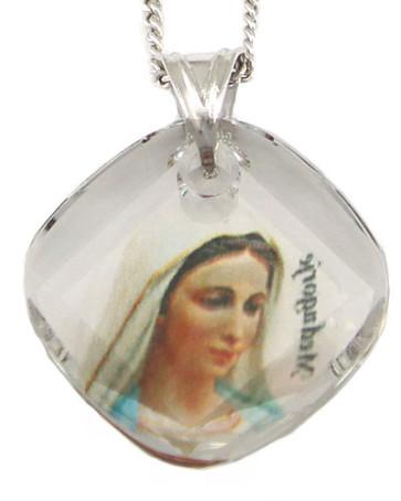 Medjugorje Swarovski Crystal Catholic Pendant