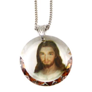 Divine Mercy Swarovski Medallion Catholic Pendant