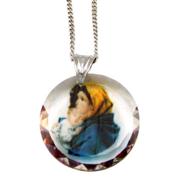 Madonna of the Streets Swarovski Medallion Catholic Pendant