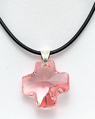 Pink Swarovski Crystal Cross Catholic Pendant