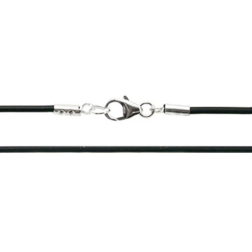 Caucho Necklace with Sterling Silver Ends - 16 1/2 inches