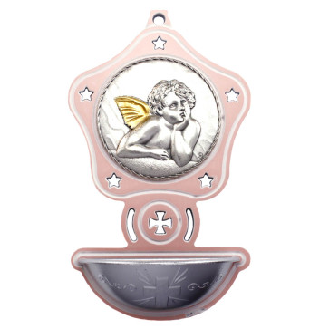 Catholic Angel Pink Star Shaped Holy Water Font