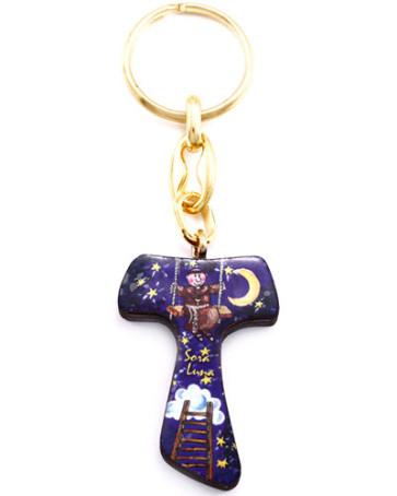Catholic Sister Moon Tau Cross Keychain