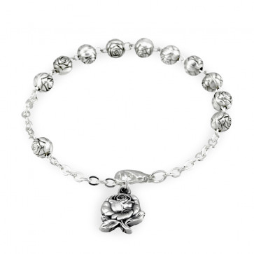 Rosebud Beads Catholic Rosary Bracelet