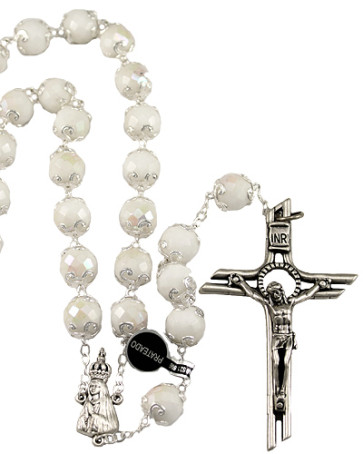 Lady of Fatima White Capped Beads Rosaries