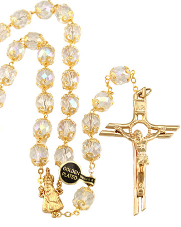Lady of Fatima Clear Capped Beads Rosary