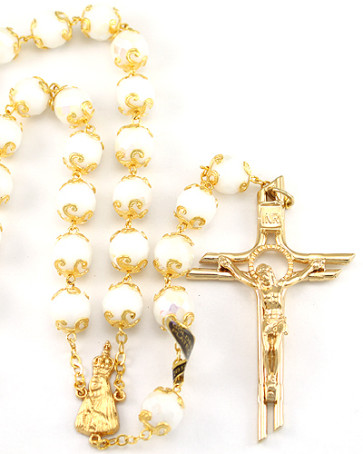 Lady of Fatima White Capped Beads Rosary
