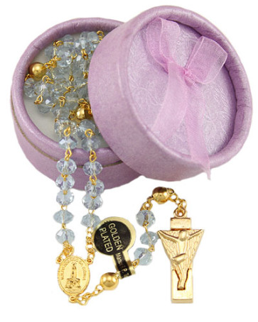 Lady of Fatima Rosary w/ Purple Crystal Beads