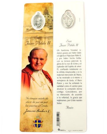 Laminated Bookmarker Saint John Paul II Spanish