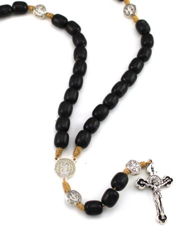 St. Benedict Rosary, Black Wood Beads