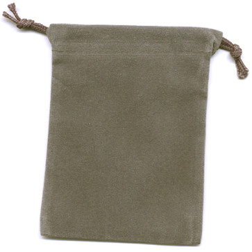 Grey Soft Velour Rosary Pouch