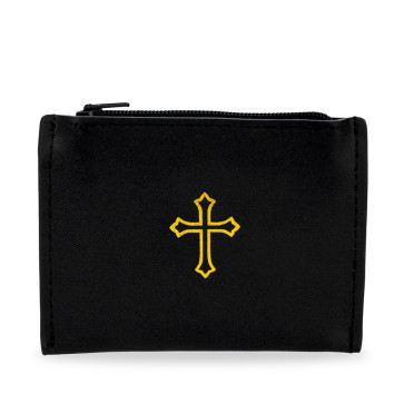 Black Leather Rosary Pouch with Gold Cross