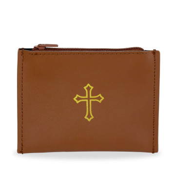 Leather Rosary Pouch with Gold Cross