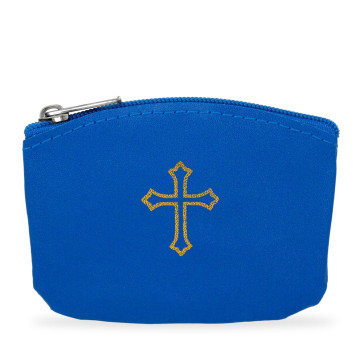 Blue Rosary Pouch with Gold Cross Design