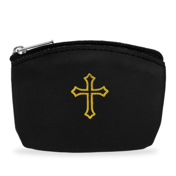 Black Rosary Pouch with Gold Cross Design and Zipper