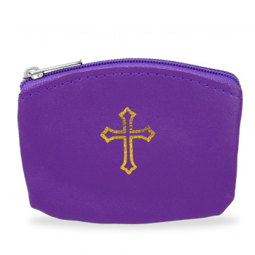 Violet Rosary Pouch with Gold Cross Design and Zipper