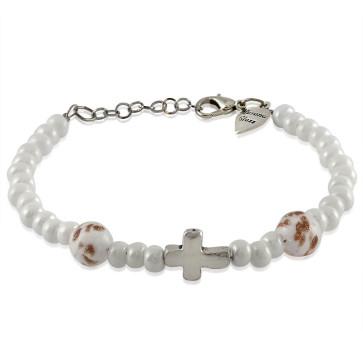 Murano Glass Bracelet, White Beads with Cross Charm