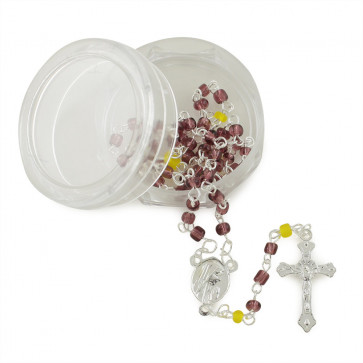 Amethyst Beads Catholic Rosary w/ Box