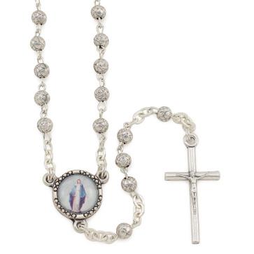 Catholic Silver Rosebud Beads Rosary