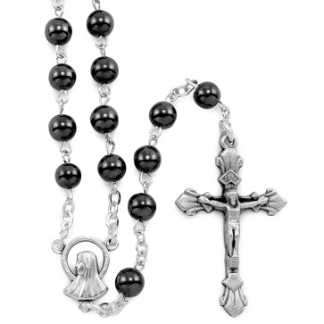 Rosary Lady of Lourdes Hematite Beads