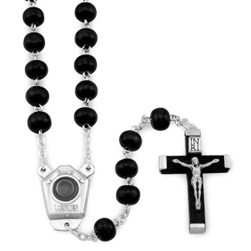 Rosary Lourdes Water Black Wooden Beads
