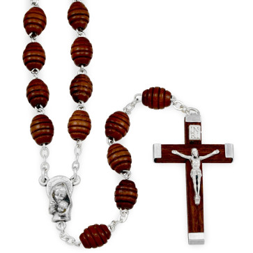 Carved Wooden Beads Catholic Rosary