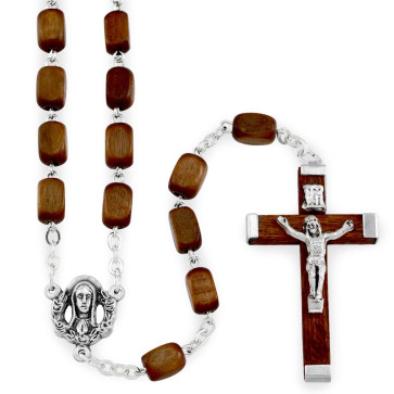 Rectangular Wooden Beads Rosary