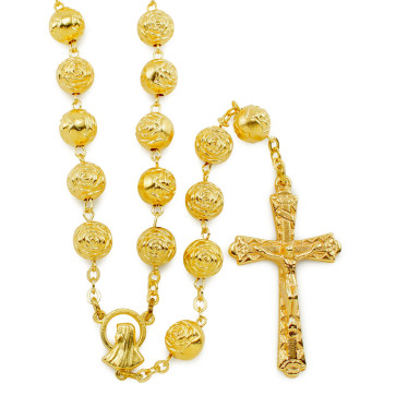 Gold Rosebud Beads Rosaries