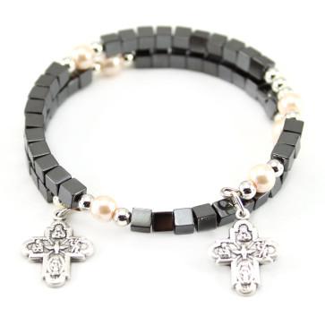 Square Hematite Beads Catholic Rosary Bracelet