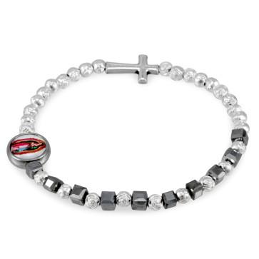 Hematite Beads Rosary Bracelet Guadalupe Medal