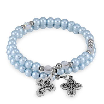 Pearl Beads Wrap Around Rosary Bracelet